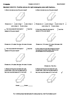 Worksheet for 6.G.2-1.0 - Find the volume of a right rectangular prism with frac