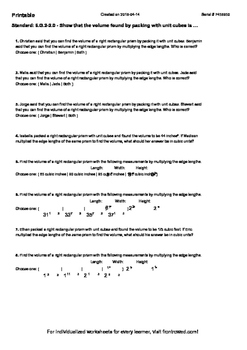 Worksheet for 6.G.2-2.0 - Show that the volume found by packing with unit cubes
