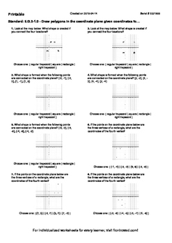 Worksheet for 6.G.3-1.0 - Draw polygons in the coordinate plane given coordinate