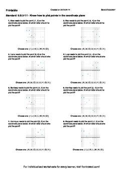 Worksheet for 6.G.3-1.1 - Know how to plot points in the coordinate plane