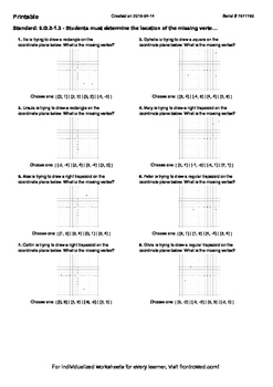 Worksheet for 6.G.3-1.3 - Students must determine the location of the missing ve