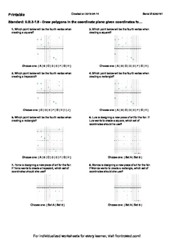 Worksheet for 6.G.3-1.5 - Draw polygons in the coordinate
