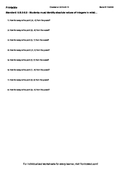 Worksheet for 6.G.3-2.2 - Students must identify absolute values of integers in