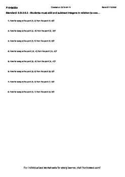 Worksheet for 6.G.3-2.3 - Students must add and subtract integers in relation to