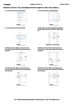 Worksheet for 6.G.3-2.5 - Use coordinates to find the length of a side in the co