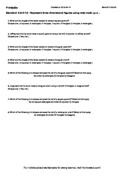 Worksheet for 6.G.4-1.0 - Represent three dimensional figu