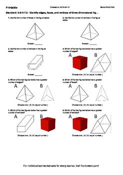 Worksheet for 6.G.4-1.2 - Identify edges, faces, and vertices of three-dimension