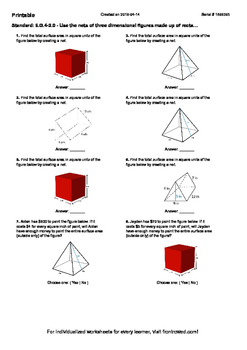 Worksheet for 6.G.4-2.0 - Use the nets of three dimensional figures made up of r