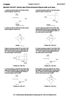 Worksheet for 6.G.4-2.4 - Use the nets of three dimensional figures made up of r