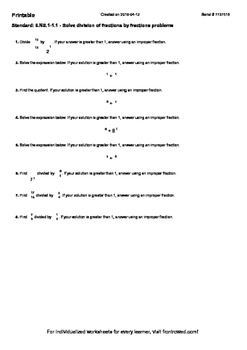 Worksheet for 6.NS.1-1.1 - Solve division of fractions by fractions problems