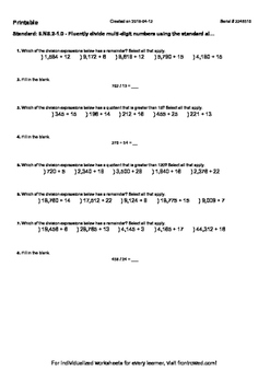 Worksheet for 6.NS.2-1.0 - Fluently divide multi-digit numbers using the standar