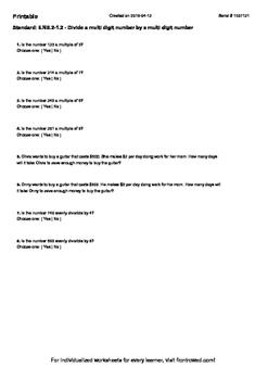 Worksheet for 6.NS.2-1.2 - Divide a multi digit number by a multi digit number