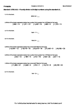 Worksheet for 6.NS.3-2.3 - Fluently divide multi-digit numbers using the standar