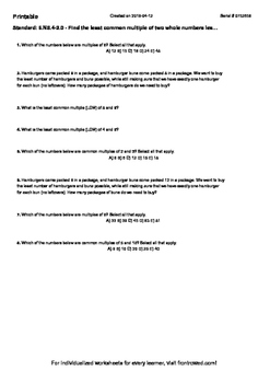 Worksheet for 6.NS.4-2.0 - Find the least common multiple of two whole numbers