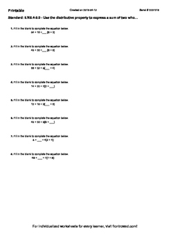 Worksheet for 6.NS.4-3.0 - Use the distributive property to express a sum of two