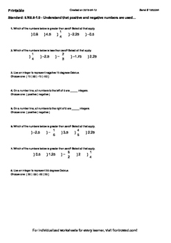 Worksheet for 6.NS.5-1.0 - Understand that positive and negative numbers are use