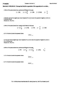 Worksheet for 6.NS.6A-2.0 - Recognize that the opposite of the opposite of a num