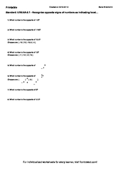 Worksheet for 6.NS.6A-2.1 - Recognize opposite signs of numbers as indicating lo