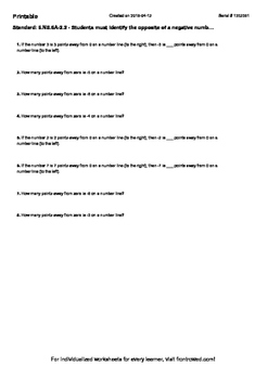 Worksheet for 6.NS.6A-2.2 - Students must identify the opp