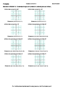 Worksheet for 6.NS.6B-1.0 - Understand signs of numbers in