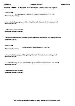 Worksheet for 6.NS.6B-1.1 - Students must identify the x-axis, y-axis, and origi
