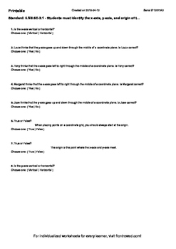 Worksheet for 6.NS.6C-2.1 - Students must identify the x-axis, y-axis, and origi