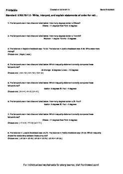 Worksheet for 6.NS.7B-1.0 - Write, interpret, and explain statements of order fo