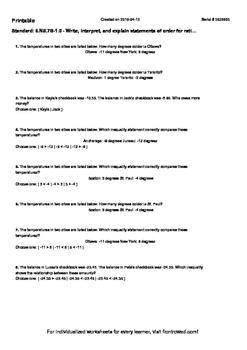Worksheet for 6.NS.7B-1.0 - Write, interpret, and explain