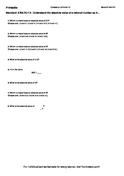 Worksheet for 6.NS.7C-1.0 - Understand the absolute value