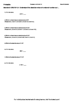 Worksheet for 6.NS.7D-1.2 - Understand the absolute value of a rational number a