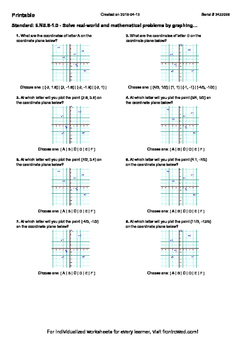 Worksheet for 6.NS.8-1.0 - Solve real-world and mathematical problems by graphi