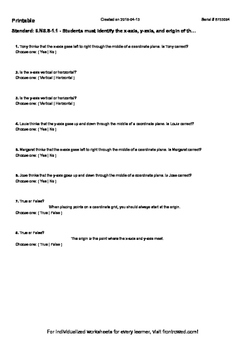 Worksheet for 6.NS.8-1.1 - Students must identify the x-axis, y-axis, and origin