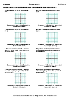 Worksheet for 6.NS.8-1.2 - Students must know the 4 quadrants in the coordinate