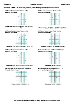 Worksheet for 6.NS.8-1.3 - Find and position pairs of inte