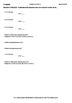 Worksheet for 6.NS.8-2.2 - Understand the absolute value of a rational number as