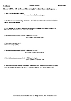 Worksheet for 6.RP.1-1.0 - Understand the concept of a rat