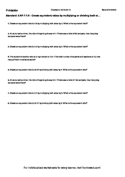 Worksheet for 6.RP.1-1.4 - Create equivalent ratios by mul