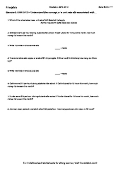Worksheet for 6.RP.2-1.0 - Understand the concept of a unit rate a b associated