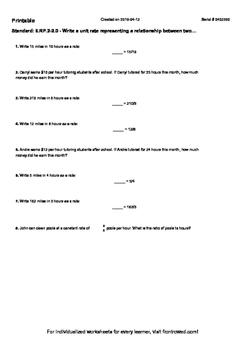 Worksheet for 6.RP.2-2.0 - Write a unit rate representing a relationship between