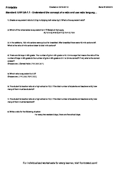 Worksheet for 6.RP.3A-1.1 - Understand the concept of a ratio and use ratio lan