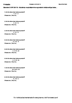 Worksheet for 6.RP.3A-1.6 - Students must determine equivalent relationships be