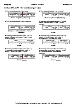 Worksheet for 6.RP.3A-4.0 - Use tables to compare ratios