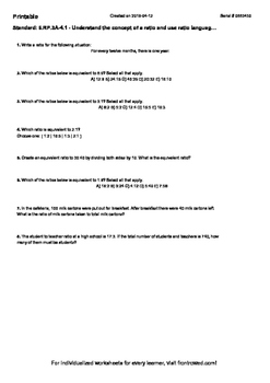 Worksheet for 6.RP.3A-4.1 - Understand the concept of a ratio and use ratio lang