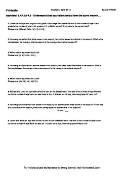 Worksheet for 6.RP.3A-4.2 - Understand that equivalent rat