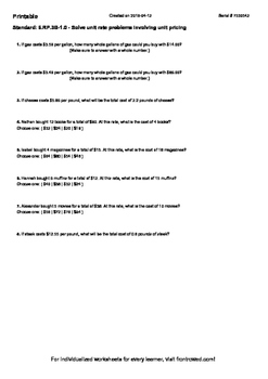 Worksheet for 6.RP.3B-1.0 - Solve unit rate problems invol