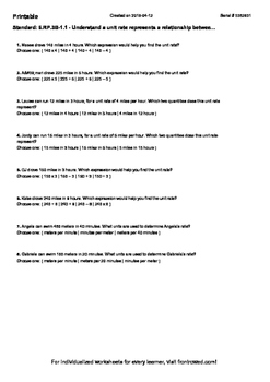 Worksheet for 6.RP.3B-1.1 - Understand a unit rate represents a relationship bet