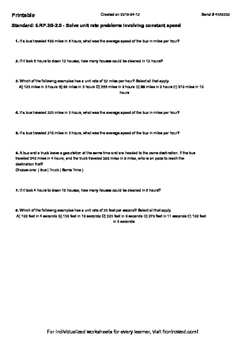 Worksheet for 6.RP.3B-2.0 - Solve unit rate problems involving constant speed
