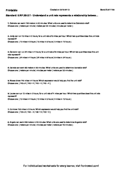 Worksheet for 6.RP.3B-2.1 - Understand a unit rate represents a relationship bet