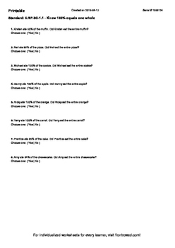Worksheet for 6.RP.3C-1.1 - Know 100% equals one whole