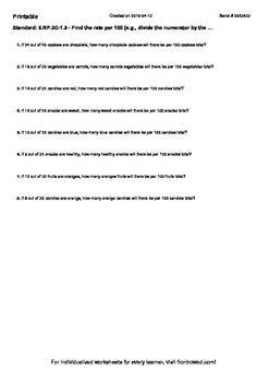 Worksheet for 6.RP.3C-1.3 - Find the rate per 100 (e.g., divide the numerator by